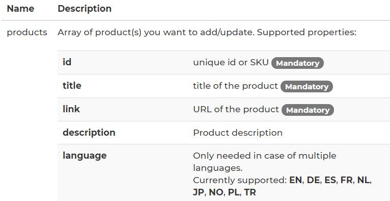 product API